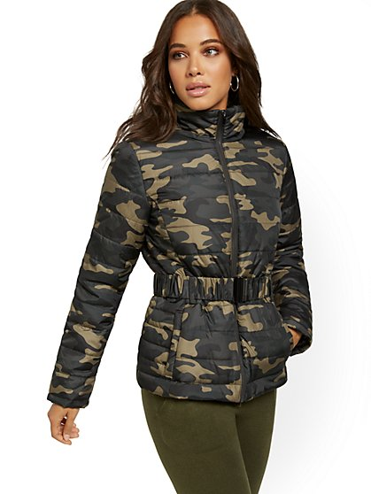 Camo-Print Belted Puffer Jacket - New York & Company