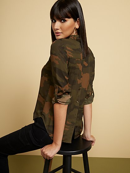Camo-Print Button-Back Shirt - Soho Soft Blouse - New York & Company