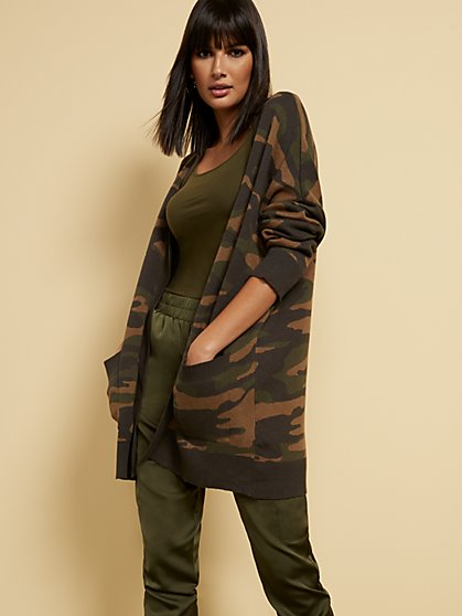 Camo-Print Cardigan Sweater - New York & Company