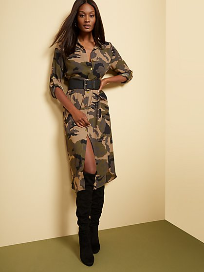 Camo-Print Cargo Shirtdress - New York & Company