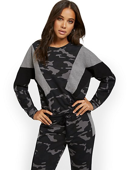 Camo-Print Colorblock Sweatshirt - New York & Company