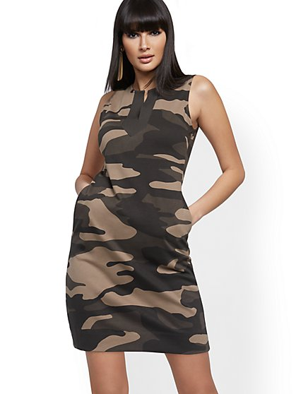 Camo-Print Cotton Shift Dress - New York & Company