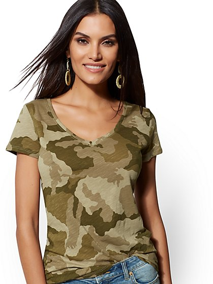 Camo-Print Cotton Top - Hampton Tee - New York & Company