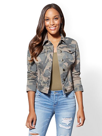 Camo-Print Denim Jacket - New York & Company