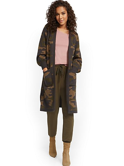 Camo-Print Duster Cardigan - New York & Company