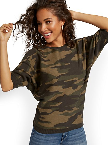 Camo-Print Easy Dolman Sweater - New York & Company