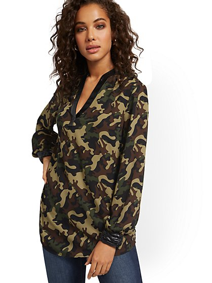 Camo-Print Faux-Leather Trim Tunic Top - New York & Company