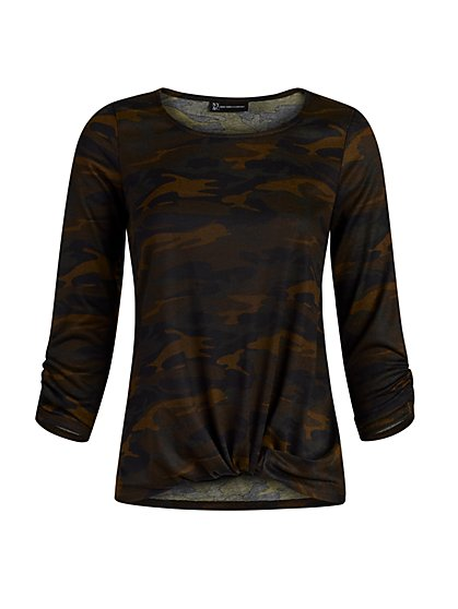 Camo Print Gathered-Hem Top - New York & Company