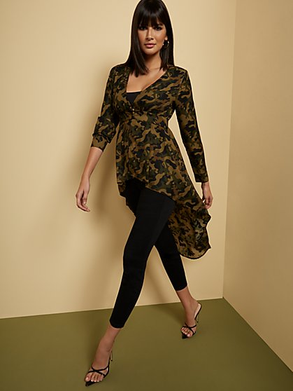 Camo-Print Hi-Lo Button-Front Blouse - New York & Company
