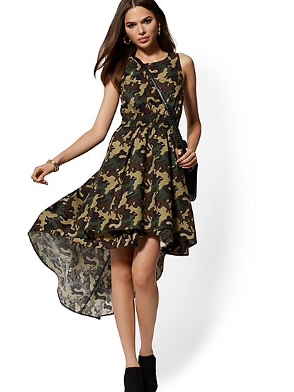 Camo-Print Hi-Lo Dress - New York & Company