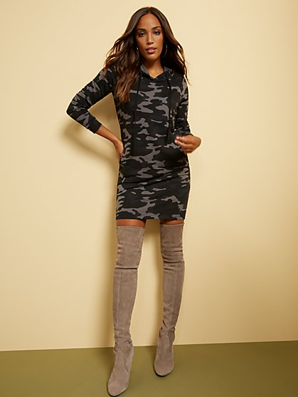 Camo-Print Hooded Sweatshirt Dress - Soho Street - New York & Company