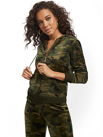 Camo-Print Hooded Velour Zip-Front Jacket - Dreamy Velour Collection - New York & Company