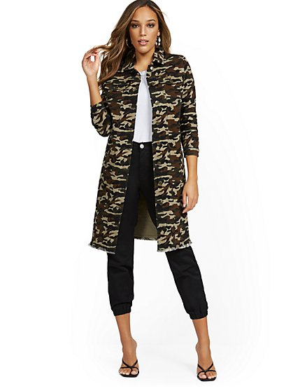 Camo-Print Long-Line Jacket - New York & Company