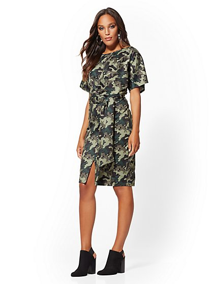 Camo-Print Midi Dress - New York & Company