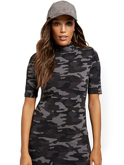 Camo-Print Mock-Neck Top - Everyday Collection - New York & Company