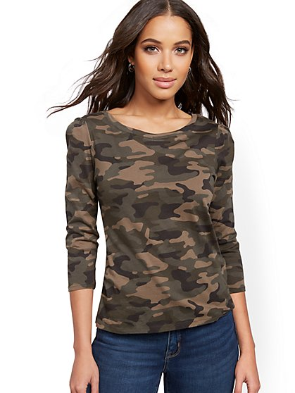 Camo-Print Puff-Sleeve Top - New York & Company