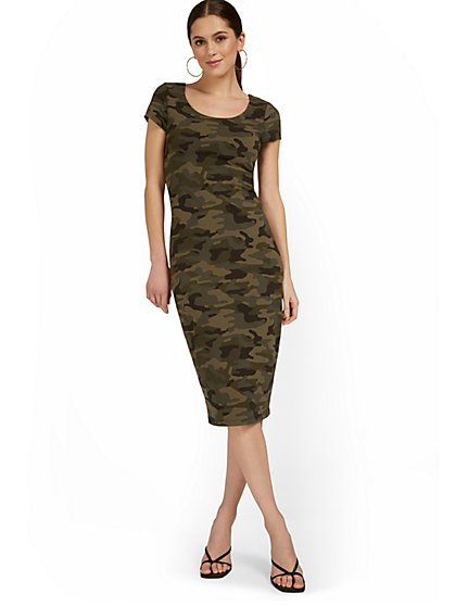 Camo-Print Scoopneck Cap-Sleeve Midi Dress - Everyday Collection - New York & Company