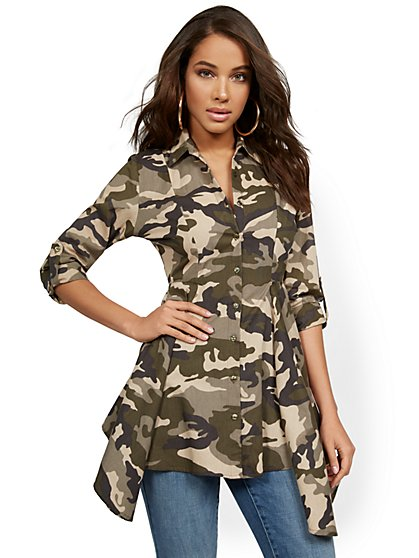 Camo-Print Sharkbite Tab-Sleeve Utility Top - New York & Company
