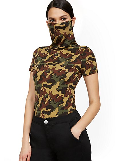 Camo-Print Short-Sleeve Mask Top - New York & Company