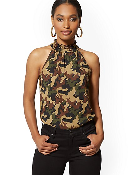 Camo-Print Smocked Halter Blouse - New York & Company