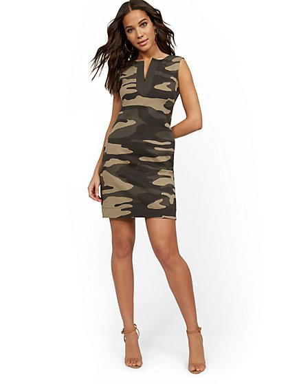 Camo-Print Split-Neck Shift Dress - City Knits - New York & Company