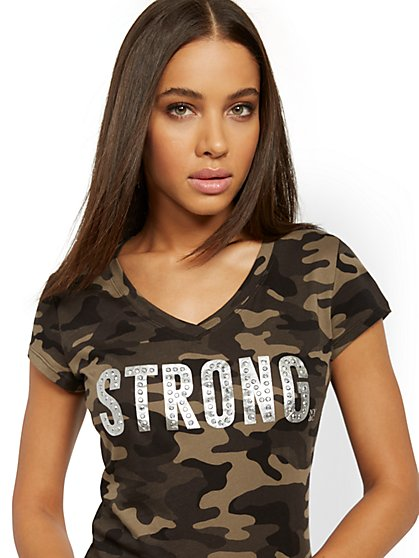 "Camo-Print ""Strong"" Tee - New York & Company"