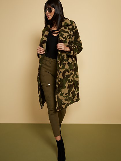 Camo-Print Teddy Bear Coat - New York & Company