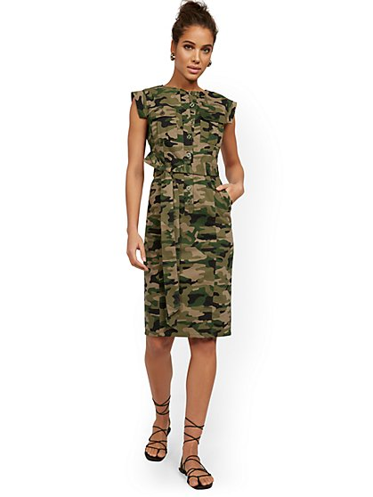 Camo-Print Utility Dress - New York & Company