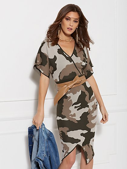 Camo Print Wrap Sweater Dress New York Company