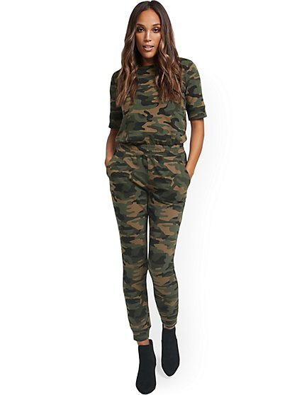 Camo-Print Zipper-Back Jumpsuit - New York & Company