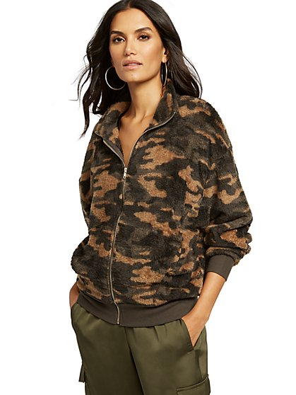 Camo Sherpa Zip-Front Jacket - New York & Company