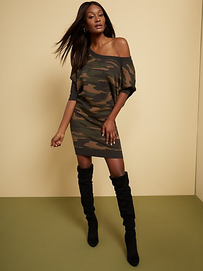 Camouflage Dolman Sweater Dress - New York & Company