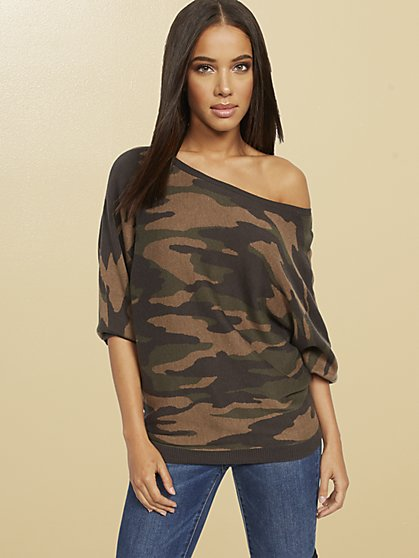 Camouflage Dolman Sweater - New York & Company