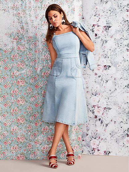 Candace Denim Flare Dress - Eva Mendes Collection - New York & Company