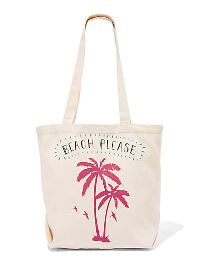 "Canvas ""Beach Please"" Tote Bag - New York & Company"