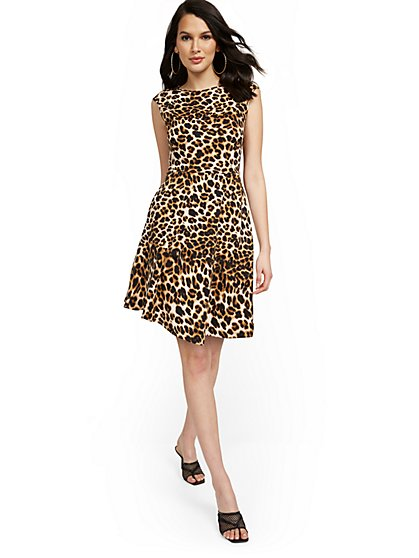 Cap-Sleeve Leopard-Print Flare Dress - New York & Company