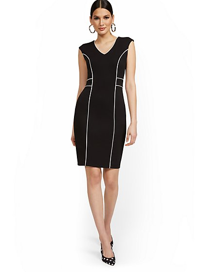Cap-Sleeve Piped Sheath Dress - Magic Crepe® - New York & Company