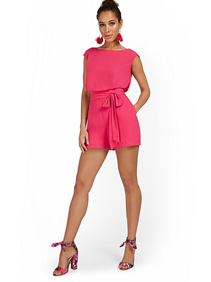 Cap-Sleeve Romper With Tie - New York & Company