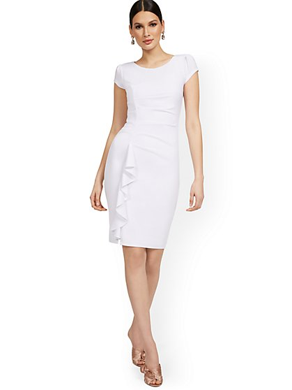 Cap-Sleeve Ruffle-Hem Dress - Magic Crepe® - New York & Company