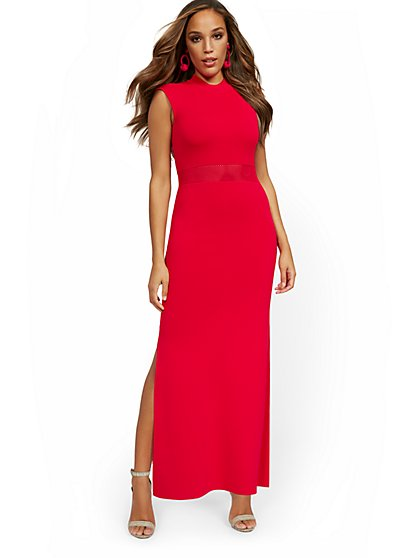 Cap-Sleeve Slit-Leg Maxi Sweater Dress - New York & Company