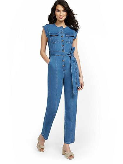 Cap-Sleeve Utility Denim Jumpsuit - New York & Company