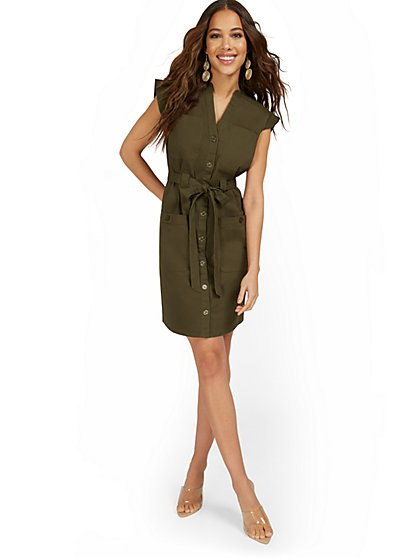 Cap-Sleeve Utility Shirtdress - New York & Company