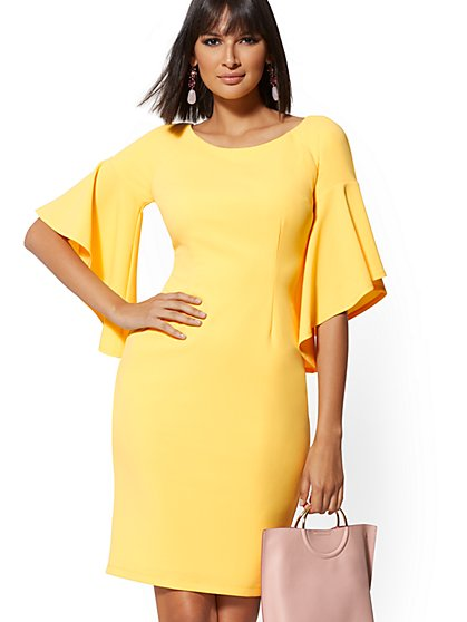 Cape-Sleeve Sheath Dress - Magic Crepe - New York & Company