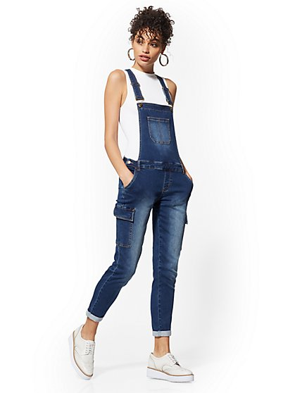 Cargo Boyfriend Overall - Medium Blue - New York & Company