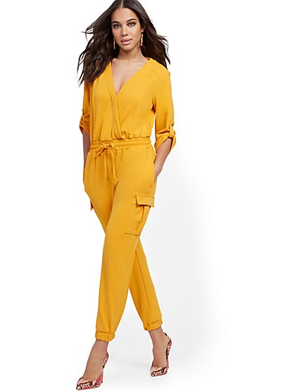 Cargo-Pocket Wrap Jumpsuit - New York & Company