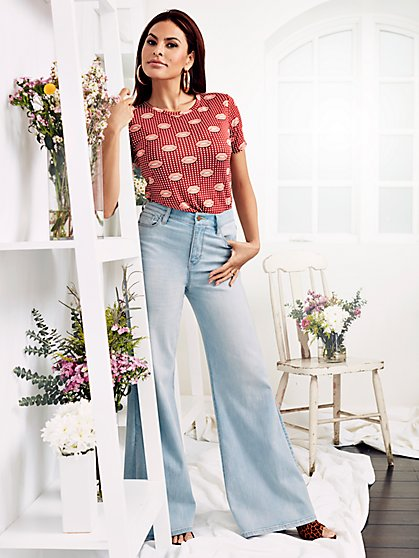 Carie Denim Wide-Leg Pant - Light Wash - Eva Mendes Collection - New York & Company