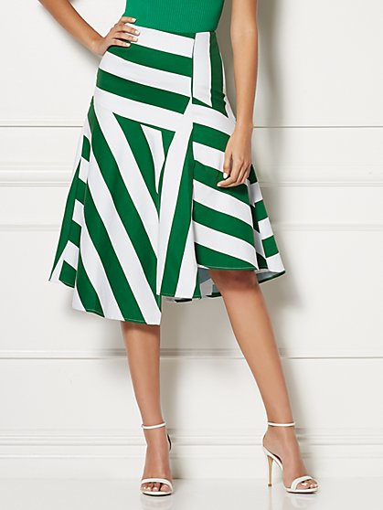 Carli Stripe Assymetrical Skirt - Eva Mendes Collection - New York & Company