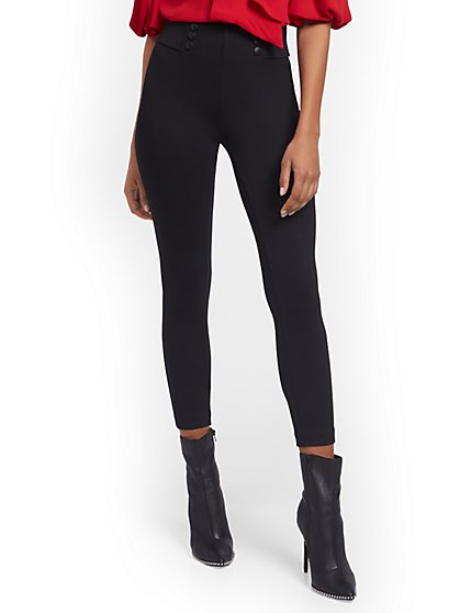 Carrie Button-Front Pull-On Ankle Pant - New York & Company