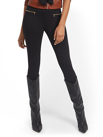 Carrie High-Waisted Zip-Accent Pull-On Pant - New York & Company
