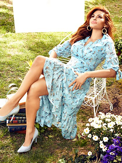 Cassidy Blue Floral Wrap Dress - Eva Mendes Collection - New York & Company